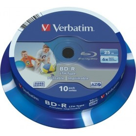 VERBATIM Bluray BDR LTH SL LTH 25GB 6X Printable 10 uds