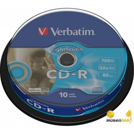 VERBATIM CD-R LIGHTSCRIBE 52x  PACK 10