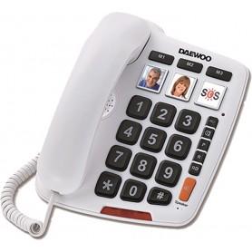 Teléfono sobremesa Daewoo DTC-760 manos libres teclas grandes blanco