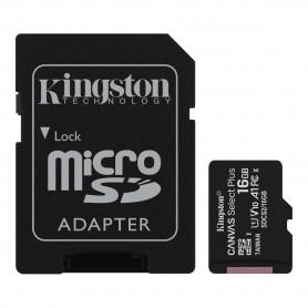 Kingston Tarjeta Micro SDHC 16GB Clase 10 100MB/s Canvas Select Plus + Adaptador SD